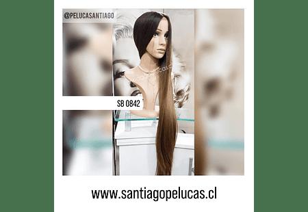 SB 0842 PELUCA EXTRA LARGA LISA 1 M. BALAYAGE CASTAÑO CLARO