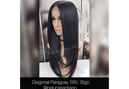 LACE FRONT LARGA LISA ESCALONADA NEGRO