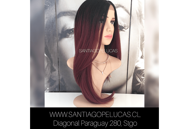 LACE FRONT LARGA LISA ESCALONADO BALAYAGE BURDEO