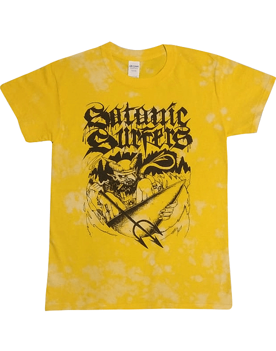Polera Desteñida Amarilla Satanic Surfers