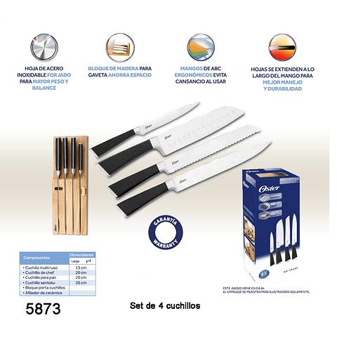 Set de 4 cuchillos OSTER y base de madera para churrasco OST-26330