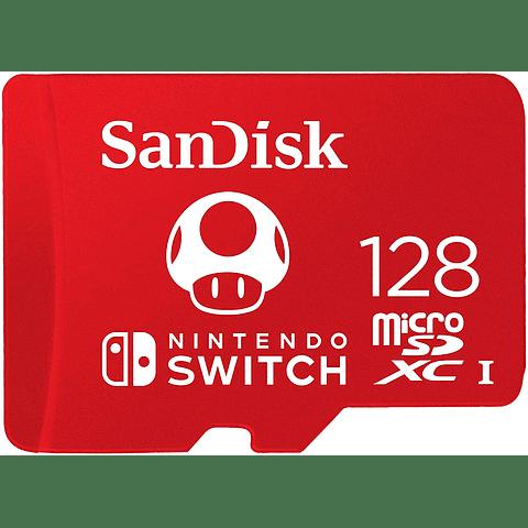 Memoria MicroSDXC 128GB Sandisk para Nintendo Switch, Lectura 100MB/s, Escritura 90MB/s