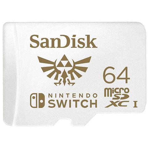 Memoria MicroSDXC 64GB Sandisk para Nintendo Switch, Lectura 100MB/s, Escritura 60MB/s