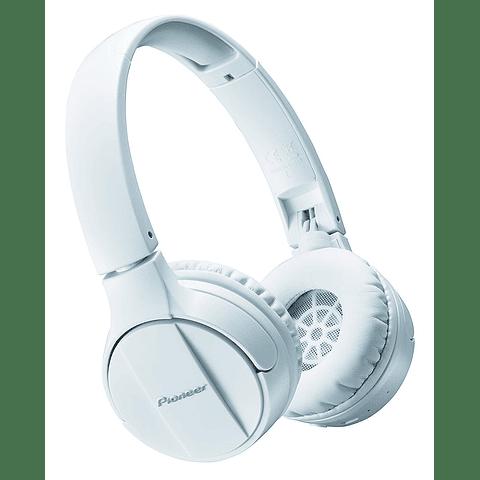 Pioneer - Auriculares estéreo inalámbricos con Bluetooth, color negro (SE-MJ553BT-W) Blanco