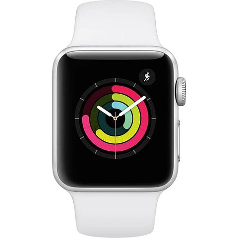 Apple Watch Series 3 38mm Smartwatch con gps, dial plateado, correa blanca
