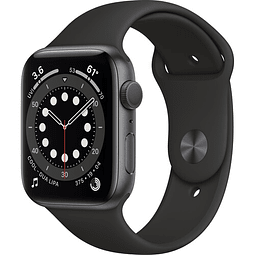 Apple Watch Serie 6 (GPS, 44mm, space gray (gris)  Aluminio, correa Sport Band color negro) M00H3LL/A