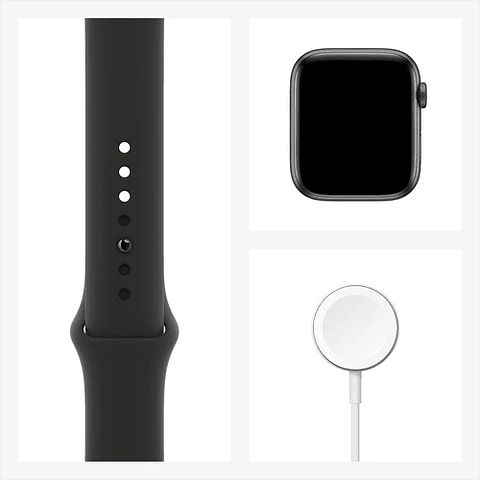 Apple Watch Serie 6 (GPS, 44mm, space gray ((gris))  Aluminio, correa Sport Band color negro) M00H3LL/A