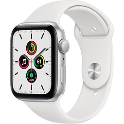 Apple Watch SE (GPS, 44mm, aluminio plateado, banda blanca deportiva) MYDQ2LL/A