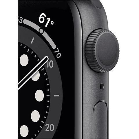 Apple Watch Series 6 (GPS, 40mm, aluminio gris, banda deportiva negro) MG133