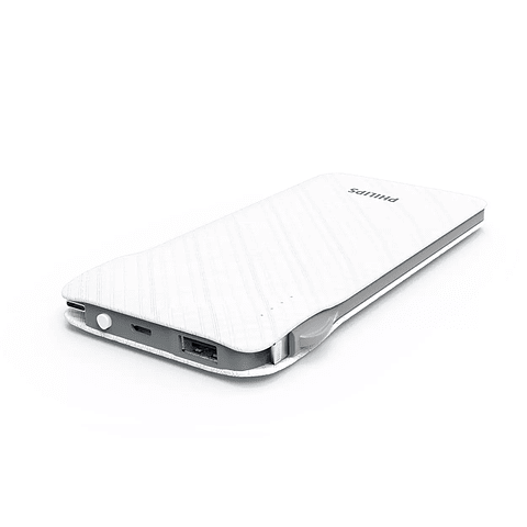 Cargador Portátil Philips DLP9006NW 10.000 mAh Salidas USB / Micro USB / USB-C y Lightning - Blanco