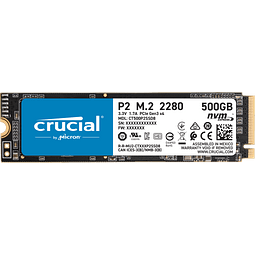Crucial P2 500GB 3D NAND nvme SSD PCIe M.2 hasta 2400MB/s - CT500P2SSD8