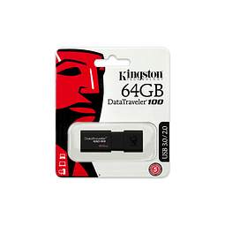 Pendrive 64GB Kingston DataTraveler® 100 G3 (DT100G3) USB 3.0, con tapa deslizante