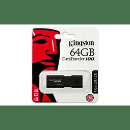 Pendrive 64GB Kingston DataTraveler® 100 G3 (DT100G3) USB 3.0, con tapa deslizante