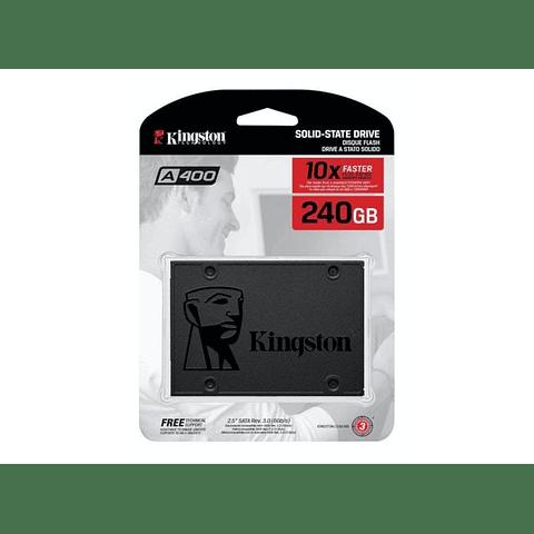 "Unidad SSD Kingston SSDNow A400 240GB, 2.5"", Lectura 500MB/s Escritura 350MB/s"
