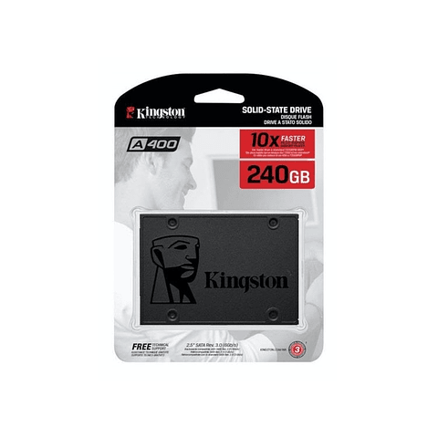 "Unidad SSD Kingston SSDNow A400 240GB, 2.5"", Lectura 500MB/s Escritura 350MB/s"