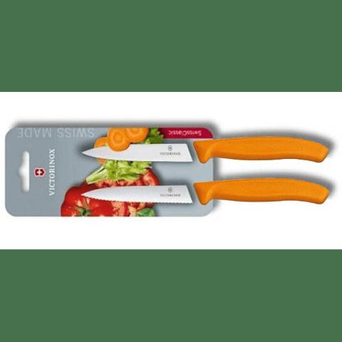Cuchillo Verduras 2 Unidades Dentado+Liso Naranja 10 cms Victorinox - 6.7796.L9B