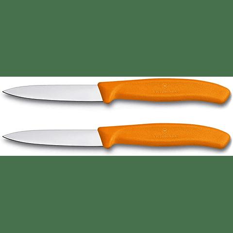 Victorinox, Swiss Classic set 2 cuchillo para verdura/Puntiagudo color NARANJO 6.7606.L119B