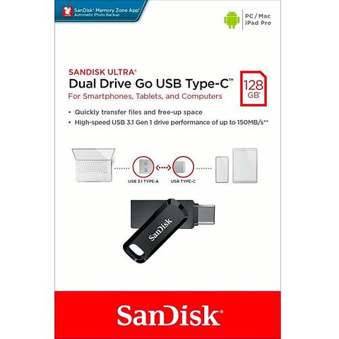 Pendrive 128Gb Sandisk Ultra Dual Drive Go USB Type-C - USB 3.1