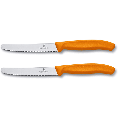 Victorinox 6.7836.L119B Swiss Classic Utility - Juego de 2 cuchillas dentadas redondas de 11CMS, color verde
