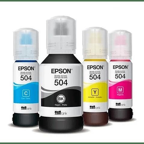 Pack 4 Tintas Epson Original T504  para  modelos L4150, L4160, L6161, L6171
