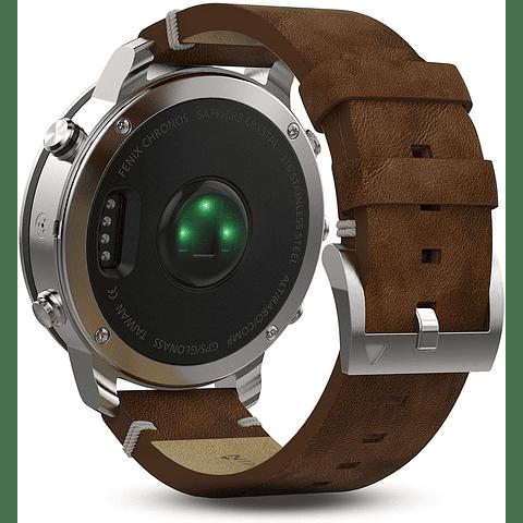 Garmin Fenix Chronos - Reloj de Acero con Correa de Piel clásico 010-01957-00