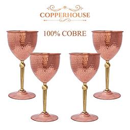 SET 4 COPA VINO DE COBRE 400ML CADA UNO MARCA COPPERHOUSE CC5-164/4