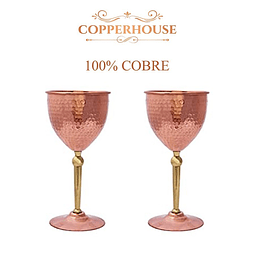 SET 2 COPAS VINO DE COBRE 400ML CADA UNO MARCA COPPERHOUSE CC5-164/2