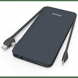 Cargador Portátil Philips DLP9006NW 10.000 mAh Salidas USB / Micro USB / USB-C y Lightning - Negro