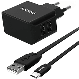 Cargador USB Philips Wall Charger DLP2502C CON CABLE TIPO C 15 watts Bivolt 3.1A – Negro