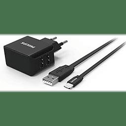 Cargador USB Philips Wall Charger DLP2502C CON CABLE PARA IPHONE  15 watts Bivolt 3.1A – Negro