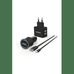 CARGADOR CORREINTE Y AUTO PHILIPS DOBLE USB + CABLE TIPO C DLP2553EC