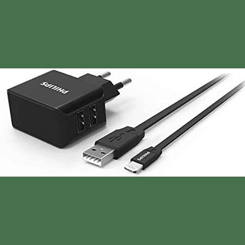 Cargador dual USB Philips con cable para Iphone
