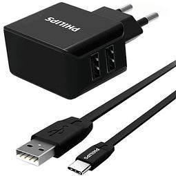 Cargador de pared dual USB Philips con cable tipo C incluido