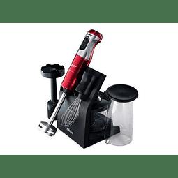 Batidora de inmersión Oster roja con cuchilla Quad y accesorios 5103R