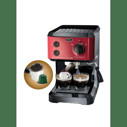 Cafetera de vapor espresso y cappuccino Oster BVSTECMP65R
