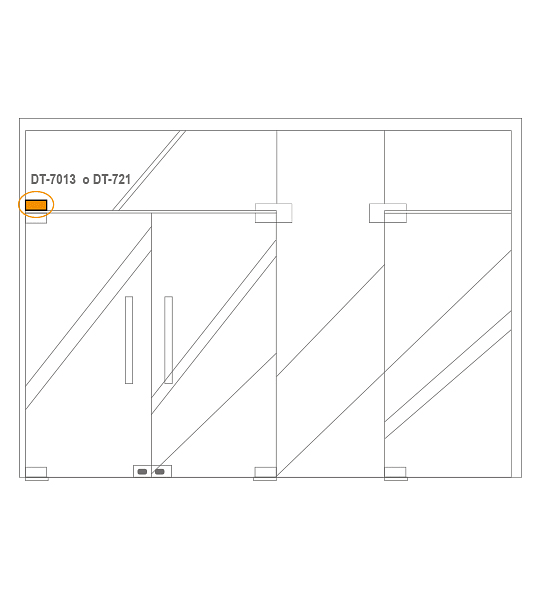 Herraje superior Conector para puerta vidriada DT-7013