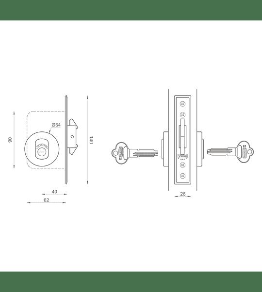 Cerradura de embutir, corredera, seguridad con cilindro en ambos lados