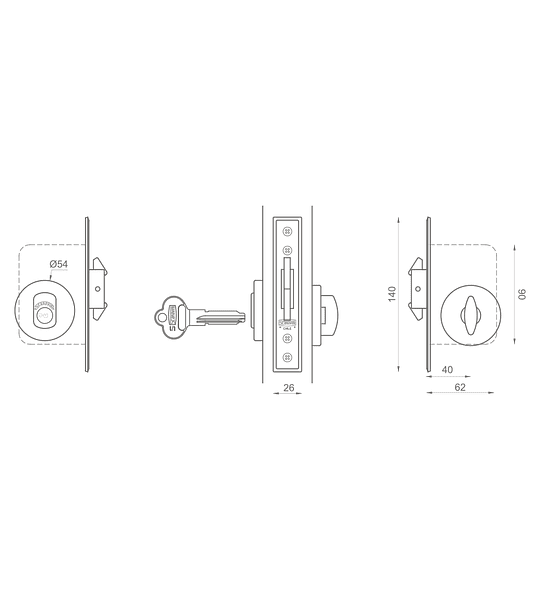 Cerradura de embutir, corredera, seguridad, seguro interior /cilindro exterior