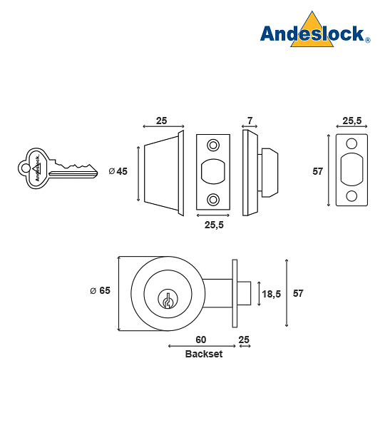 Cerrojo de Seguridad con seguro interior / cilindro exterior Andeslock