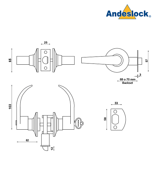 Cerradura tubular con manillas, Dormitorio, Oficina Andeslock