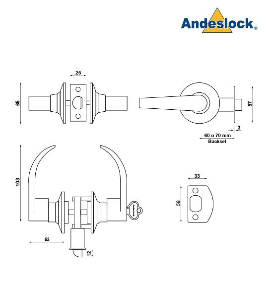 Cerradura tubular con manillas, acceso principal, bodega Andeslock