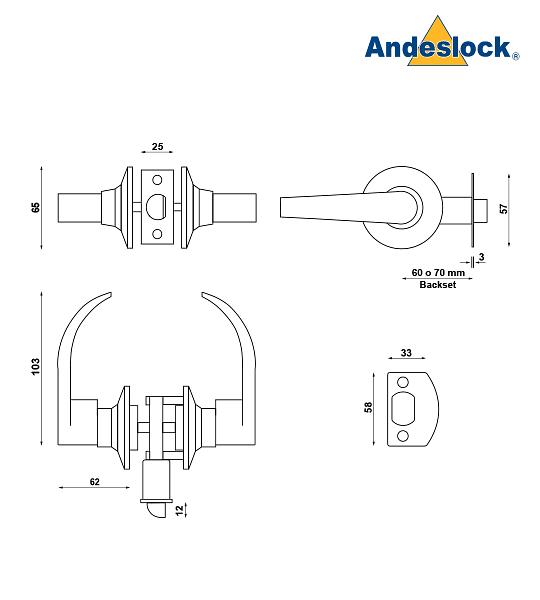 Cerradura tubular con manillas, simple paso, dormitorio niños Andeslock