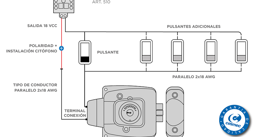 Esquema de circuito básico para cerraduras eléctricas Scanavini 2050, 2055 y 2150