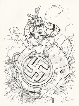 Atomic Robo Illustration (inks)
