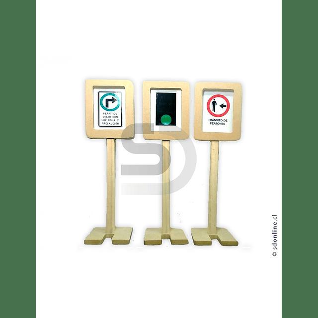 Señales De Transito Viales Juego Madera Y Cartón