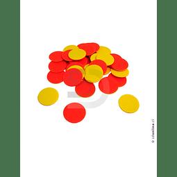 Fichas Plásticas Bicolor Set 100Pza
