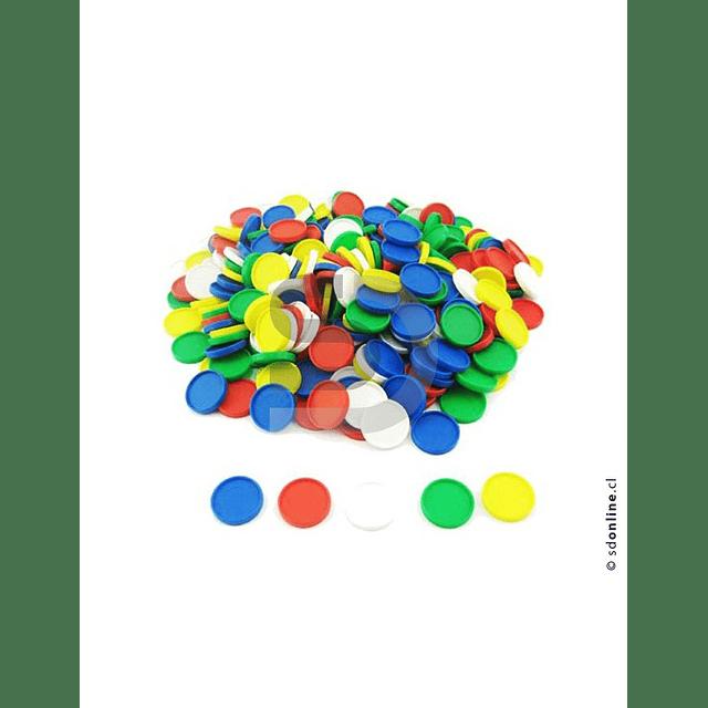 Fichas Plásticas 5 Colores 29Mm 100Und