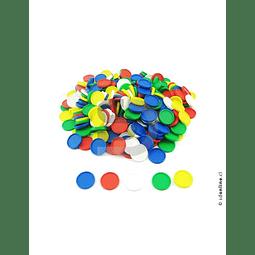 Fichas Plásticas 5 Colores 29Mm 500Und