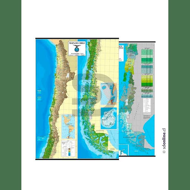 Mapa De Chile Reversible Físico / Político-Administrativo