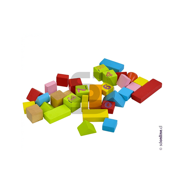 Bloques De Costrucción Madera 50Pza